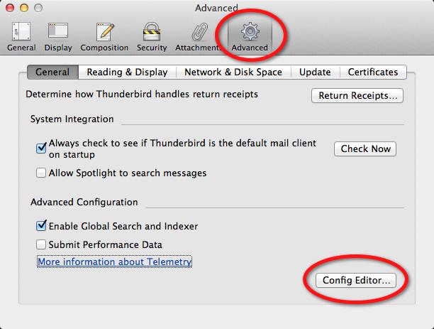 Thunderbird Advanced Configuration Editor