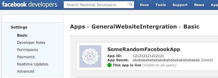 Facebook App Information