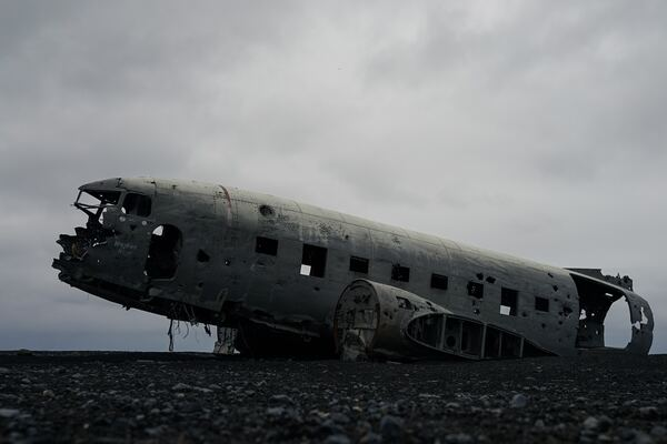 abandoned eroded plane fuselage