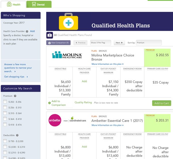 Lowest priced plans offered to me on the Washington state healthcare market