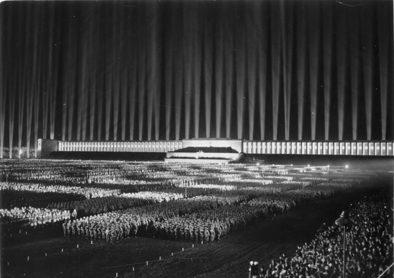 The Cathedral of Light above the Zeppelintribune (1936)