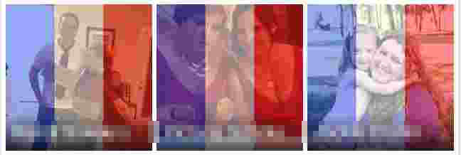 Facebook profile photos overlayed with French flag
