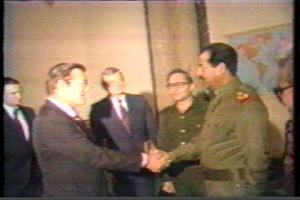 Shaking Hands: Iraqi President Saddam Hussein greets Donald Rumsfeld, then special envoy of President Ronald Reagan, in Baghdad on December 20, 1983