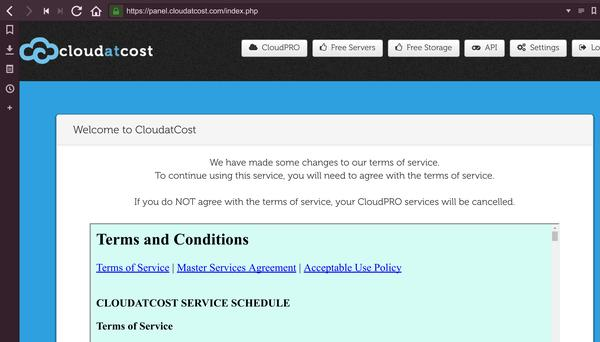 New Terms of Service from Cloud at Cost