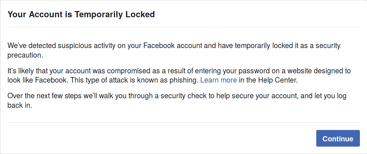 Message Indicating I'm Locked out of my Account
