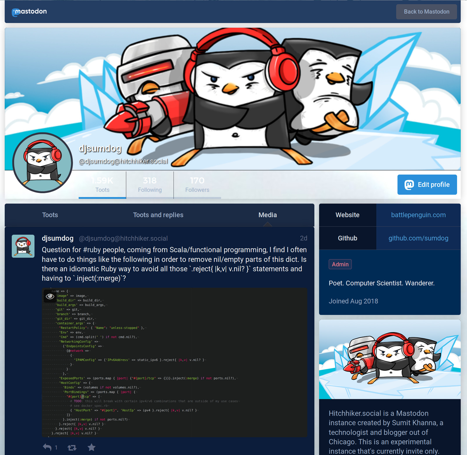 Mastodon Public Profile Screenshot with Sapphire Ocean Theme