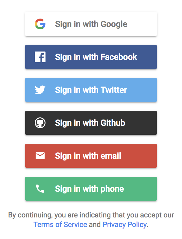 Six 'sign in with' buttons for Google, Facebook, Twitter, Github, email, phone methods