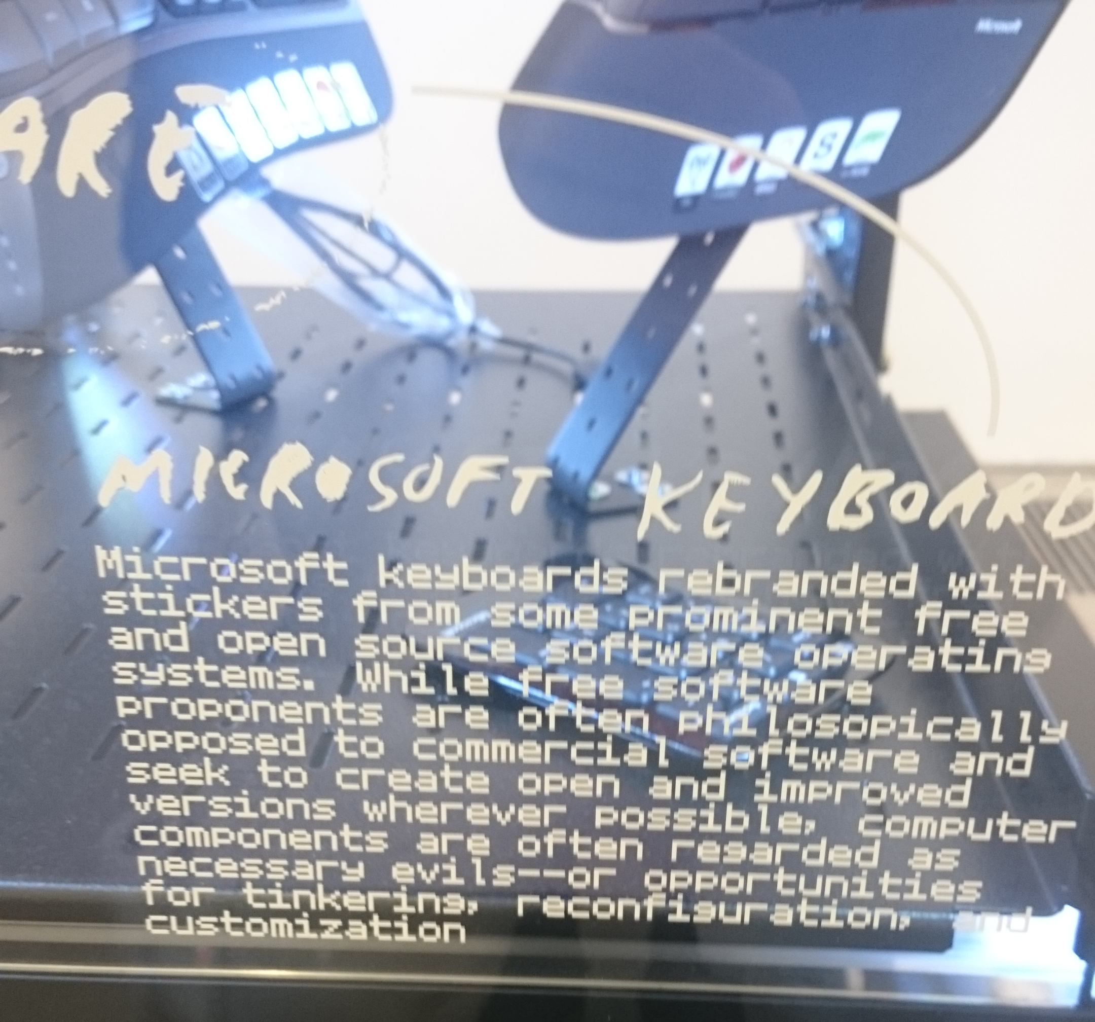 Open Source Stickers on Microsoft Keyboards - Art Exhibit - London