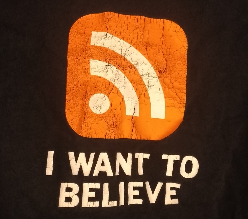 I Want to Believe in RSS T-Shirt by Richard Stevens