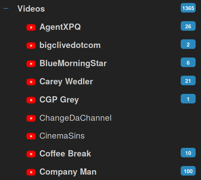 Screenshot of YouTube Feeds in the Tiny Tiny RSS reader